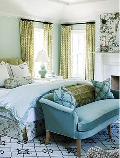 turquoise & olive green bedroom by Barrie Benson via Marcus Design blog