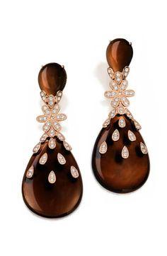 Rosamaria G Frangini | High Colorful Jewellery | CARLA AMORIM Brazilian Jewelry. Brown Earrings
