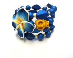Natural Hibiscus Day of the Dead Bracelet Sugar by sweetie2sweetie, $26.99