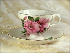 Porcelain Bone China Pink Flower Teacup and by TinyandBeautiful