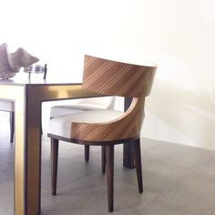 Our zebrano-backed Oscar dining chair is newly installed and looking mighty fine in the showroom