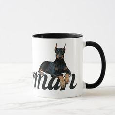 Doberman Pinscher Mug doberman art, fawn doberman, champion doberman #dobermans #dobermansofinsta #dobermanmix, back to school, aesthetic wallpaper, y2k fashion White Doberman Pinscher, Blue Doberman, Doberman Mix, Baby Puppies, Puppies For Sale, Dogs And Puppies, Retro Font, Puppy Names, Personalized Coffee Mugs