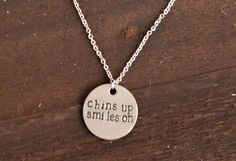 Chins up Smiles on  Hand Stamped Stainless by WanderLoveCrafts