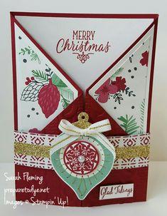 Festive Season bundle double gatefold card - Stampin' Up! holiday catalog - Sarah Fleming - Prepare to Dye