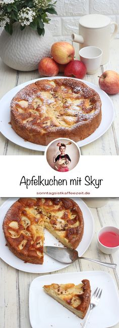 Apple Cake with Skyr - Juicy, easy and fast- Apfelkuchen mit Skyr – Saftig, einfach und schnell gemacht There is nothing fussy about this recipe or … - Easy Cheesecake Recipes, Apple Pie Recipes, Apple Desserts, Healthy Dessert Recipes, No Bake Desserts, Easy Desserts, Fall Recipes, Summer Desserts, Chocolate Desserts