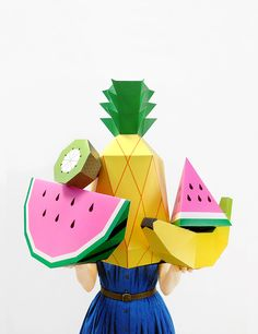 Giant Tropical Fruit Paper Sculpture Kit | For amazing party & room deco, photo props and surprise presents!