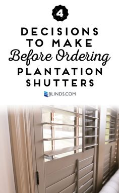 Custom Plantation Shutters are available with lots of exciting optionsso you can fit your home's styleperfectly. Before you place your order, consider these 4 options for customizing your shutters. Seng, who writes at Sengerson.com, walks us through the choices she made in ordering her Blinds.com Signature Wood Shutters. FourOptions for Custom Plantation Shutters In the …