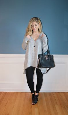 long line sweater, leggings, open toe booties, black satchel bag, winter fashion, winter outfit
