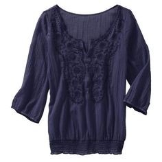 Old Navy Womens Embroidered Gauze Shirt ($28) ❤ liked on Polyvore featuring tops, shirts, women, blue 3/4 sleeve shirt, old navy tops, eyelet shirt, gauze tops and three quarter sleeve shirts