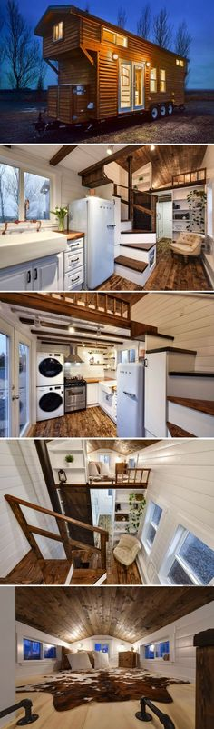 Rustic 24 tiny house- I love the look inside this tiny home but I need WAY bigger. Like typical house size. Tiny House Company, Tiny House Plans, Tiny House On Wheels, Small Room Design, Tiny House Design, Casas Containers, Tiny House Nation, Tiny House Living, Bus Living