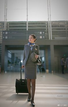 Okay Airways Cabin Crew Airline Uniforms, Sensible Shoes, Office Skirt, Stockings Legs, Cabin Crew, Asia Girl, Office Ladies, Flight Attendant, High Class