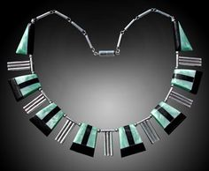 ART DECO Necklace  -  Chrome & galalith