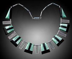 ART DECO Necklace  -  Chrome & galalith