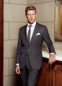 The Bondi Slim Fit suit in Super 130's Pure Australian Merino Wool (dark grey with fine overcheck).