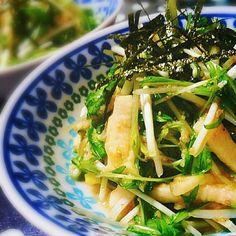 その名の通り、長いもと水菜とで シャキシャキ、ネバネバ、ふわふわな3つの食感が楽しめる とっても美味しい和風サラダです♪