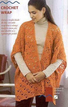 CROCHET PATTERN...Lace RUANA Crochet Wrap...EASY...