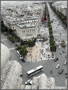 Champs Elysees, as seen from Arc de Triomphe, Paris