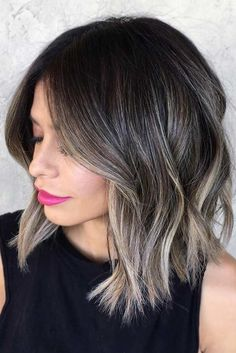 Our trending black to grey balayage ombre shade blends easily in to black hair, resulting in an overall sizzling hot and natural and current ombre look. It works on gray hair. Balayage is a smart solution for gray hair because it . Ash Blonde Hair, Brunette Hair, Ash Blonde Balayage Short, Brown Balayage, Blonde Highlights On Dark Hair Short, Ash Brown Highlights, Blonde Ends, Color Highlights, Grey Hair Dark Roots