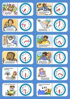 This set of 10 dominoes illustrates daily routine activities and the clock in French. Print back to back, laminate & cut. Daily Routine Worksheet, Daily Routine Activities, Routine Chart, Daily Routines, French Flashcards, French Worksheets, Flashcards For Kids, French Language Lessons, French Lessons