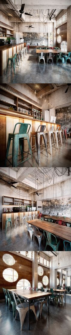 I realize this is a coffee house, but I want to incorporate some of these ideas into a home kitchen! Creative Coffee by My Coffee Shop, Coffee Shop Design, Cafe Design, Coffee Shops, Coffee Coffee, Café Bar, Deco Restaurant, Restaurant Design, Restaurant Ideas