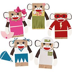 sock monkey puppet kit for Peterson Richmond Boyd Paper Bag Crafts, Paper Crafts For Kids, Paper Bags, Monkey Puppet, Sock Monkey Party, Paper Bag Puppets, Sock Puppets, Hand Puppets, Monkey Crafts