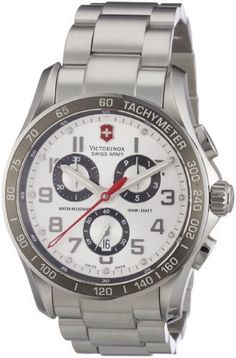 Victorinox Swiss Army Men's 241445 Chrono Classic Silver Chronograph Dial Watch Victorinox Swiss Army. $825.00. Silver chronograph dial. Stainless steel round case. Water-resistant to 330 feet (100 M). Deployant push button clasp. Quartz movement