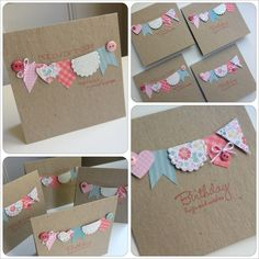 Pretty Bunting Handmade Greeting Cards - clever way to use up scraps!