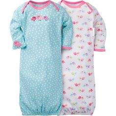 "Gerber Girls 2 Pack Blue Polka Dot and White Bird Printed Gowns - 0-6 Months - Gerber Childrenswear - Babies""R""Us"