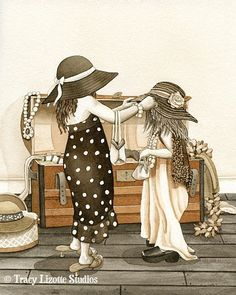Dress Up - 11x14 archival watercolor print by Tracy Lizotte