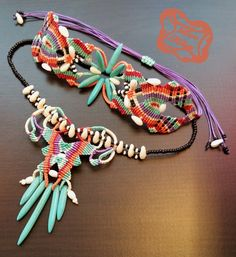 Micro-macramé tribale collana e bracciale con di LoveKnotsFromAmy