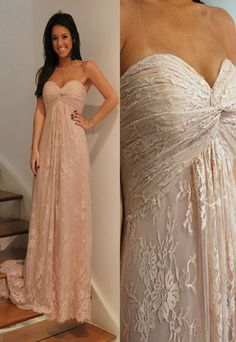 Blushing Pink Lace A-line Sweetheart Strapless Long Bridesmaid Dress