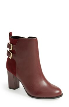 Pairing these maroon and gold ankle boots with skinny jeans and navy blazer.