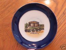 ANTIQUE souvenir china GIRARD COLLEGE PHILADELPHIA PA Pennsylvania COBALT BLUE