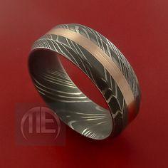 Damascus Steel 14K Rose Gold Ring Wedding Band Custom Made to Any Size3-22 on Etsy, $386.92