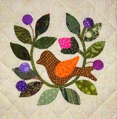 """""""Songs of Spring,"""" 6-inch blocks by Lori Smith , outer border by me, is hand quilted and bound...just in the nick of time to be my sec..."""