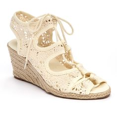 Bucco Beige Yoggy Espadrille (26 CAD) ❤ liked on Polyvore featuring shoes, sandals, high heel shoes, wedge sandals, crochet sandals, beige sandals and lace up espadrilles