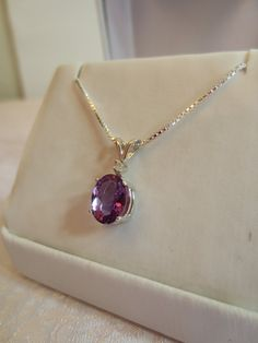 Sterling Silver and Amethyst Oval and Diamond Pendant by RLGems