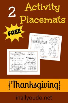 FREE Thanksgiving Activity Placemats - Frugal Homeschool Family