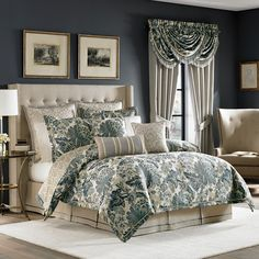 The Marietta Bedding Collection is an updated, stylized Jacobean in shades of blue and ivory. The comforter is trimmed in an ivory cord and has a printed reverse like the shams. The bed skirt is a natural color to tieback to the comforter and is made of linen like fabric which is trimmed with blue ribbon. #bedding #Croscillbedding