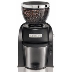 @Overstock - Krups GX600050 Black Conical Burr Coffee Grinder with Grind Size and Cup Selection - Enjoy a delicious cup of coffee when you use this Krups coffee grinder. A black and silver finish add a modern touch to this durable coffee grinder.     http://www.overstock.com/Home-Garden/Krups-GX600050-Black-Conical-Burr-Coffee-Grinder-with-Grind-Size-and-Cup-Selection/7861197/product.html?CID=214117  $60.99