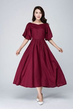 This burgundy dress is made of linen blend. This burgundy linen dress open by side zipper. The linen dress has two big sleeve. This Romantic dress has no pockets. if you want to wash by your hand, you need wash alone, please dont wash with others. Trendy Dresses, Casual Dresses, Fashion Dresses, Formal Dresses, New Dress, Dress Up, Burgundy Dress, Burgundy Fashion, Burgundy Color