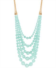Beaded Layered Necklace in Seafoam/Gold $8.80 cute w a white tank or tee.