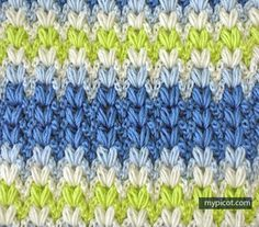 Crochet Mutlicolored Puff Stitch Tutorial - (mypicot)                                                                                                                                                                                 More