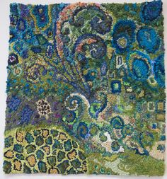 Fiddleheads by Deanne Fitzpatrick. Abstract rug hooking idea. Blues and greens.