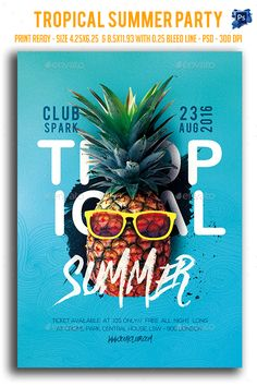 Tropical Summer Party Flyer Template PSD. Download here: https://graphicriver.net/item/tropical-summer-party-flyer/17284493?ref=ksioks