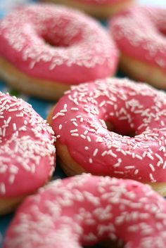 Pink donuts with sprinkles