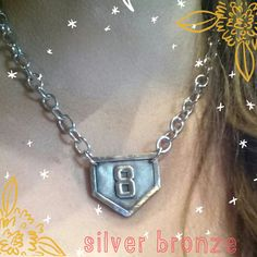 Items similar to Sports Mom home plate baseball/ softball silver bronze number necklace with chunky silver plated necklace on Etsy Softball Necklace, Softball Jewelry, Softball Crafts, Softball Shirts, Softball Mom, Fastpitch Softball, Basketball Practice, Love And Basketball, Home Plate Baseball