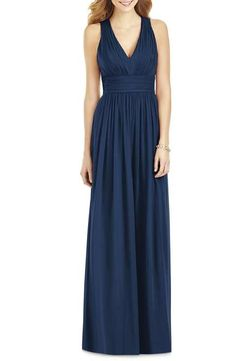 After Six Crisscross Back Ruched Chiffon V-Neck Gown