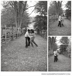 Ashleigh+LeMar's Lifestyle Session at Old Salem in Winston-Salem, NC :: Black and White Engagement Photos :: Outdoor Engagement Photos :: Football Engagement :: Photo by Glessner Photography