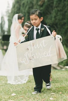 """DIY """"Just Married"""" sign (a great way to include children in your wedding. Source: style me pretty #DIY #weddingsigns"""